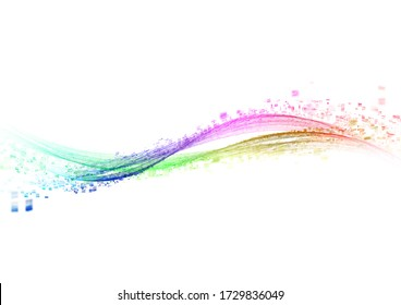 3D illustration of white background with color gradient abstract waves