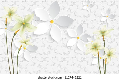 3D illustration, white background with flowers