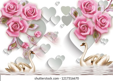3d illustration, white background with paper hearts, pink roses, four swans are swimming in the water.