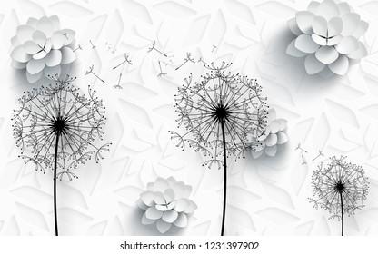 3d illustration, white background, white paper flowers, large black outlines of dandelions