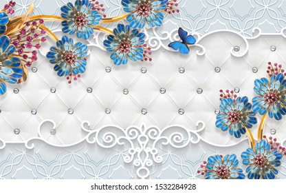 3d illustration, white background, upholstery, ornament, large blue fabulous flowers on gold stems, blue mother of pearl butterfly