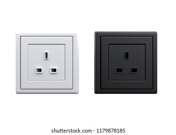 3d illustration white and black british power sockets isolated 3d render