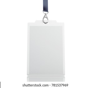 3d illustration. White blank ID badge with place for photo and text. Mock up. Isolated white background