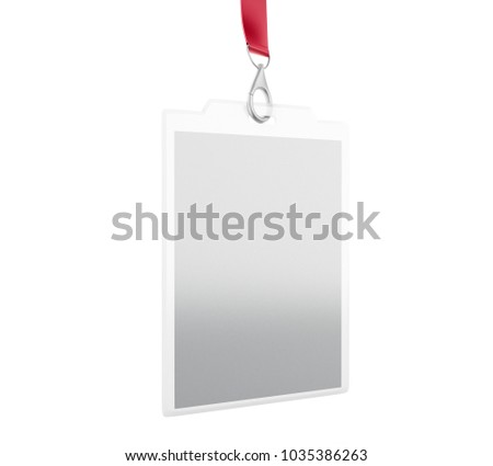 3 d illustration white blank id badge stock illustration 1035386263