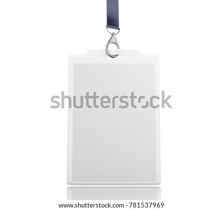 3 d illustration white blank id badge stock illustration 781537969