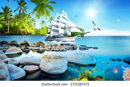 3D illustration white boat sailing to sea with blue sea. Lush forest on shore