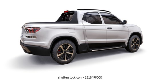3D illustration of white concept cargo pickup truck on white isolated background. 3d rendering.