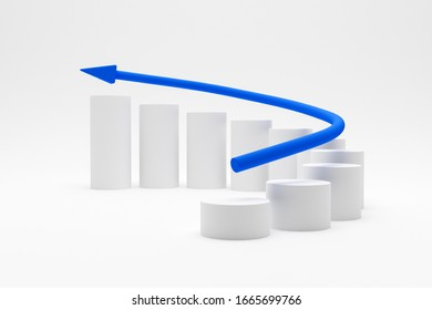 3D illustration - White cylinders curve chart with a blue arrow increasing