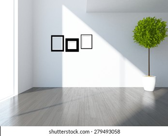 3d illustration of a white empty room