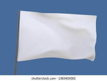 3D illustration white flag background