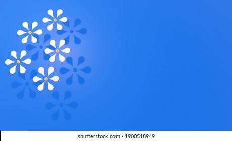 3D illustration of white flowers on blue background