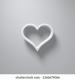 3D Illustration - White heart silhouette with light and shadow