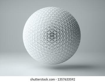 3d illustration of white hexa ball on white background