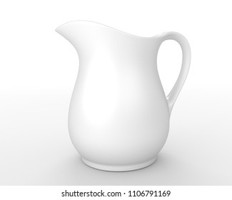 3d illustration of a white jug on white background.