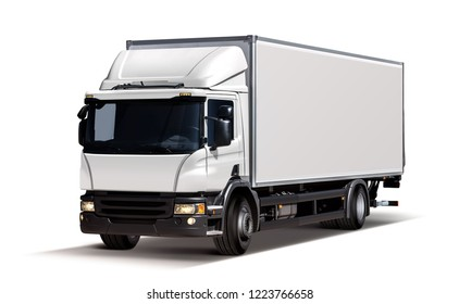 3d illustration of white lorry, isolated on background