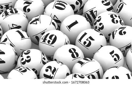 Illustration 3D de balles de loterie blanche