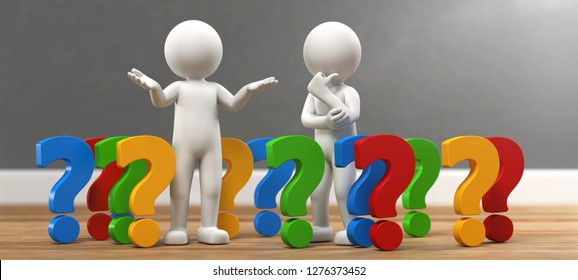 3D illustration white male with colorful question marks