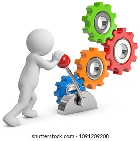 3D Illustration white 3d male with gears and start lever