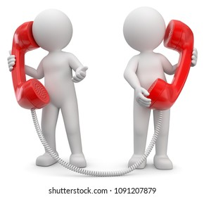 3D Illustration white male talking on the phone