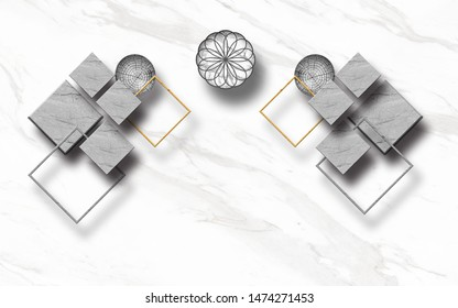 3d illustration, white marble background, gray textured rhombuses and ornamental circles
