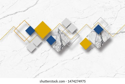 3d illustration, white marble background, multi-colored rhombuses