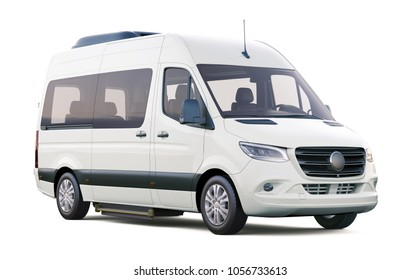 3D illustration of White Minibus  on white background