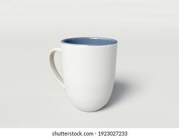 3d illustration. White mug mockup on white background.
