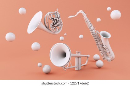3d illustration. White musical instruments on a pink background. Music concept.