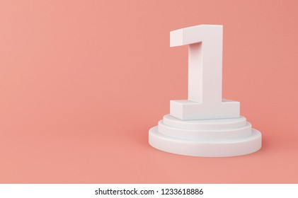 3d illustration. White number 1 on pink background.