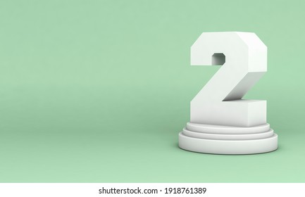 3D illustration. White number 2 on round pedestal isolated on green background. 2nd place