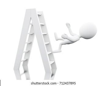 3d illustration. White people falling off a ladder. Work accident. Isolated white background.
