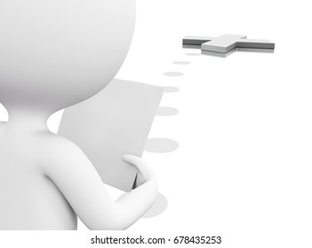 """3d illustration. White people following a map in search of the """"X"""". Isolated white background"""
