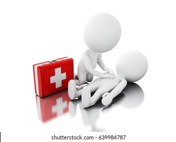3d illustration. White people providing CPR first aid. Isolated white background