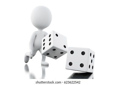 3d illustration. White people throwing dices. Gambling concept. Isolated white background