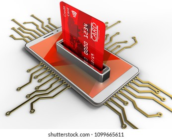 3d illustration of white phone over white background with electronic circuit and bank card