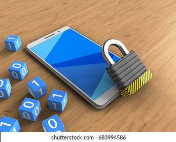 3d illustration of white phone over wooden background with binary cubes and iron lock