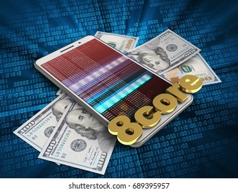 3d illustration of white phone over digital background with banknotes and 8 core sign