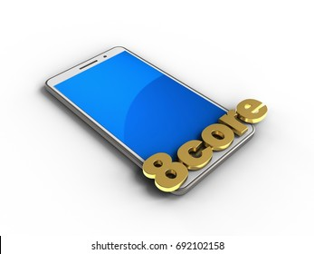 3d illustration of white phone over white background with 8 core sign