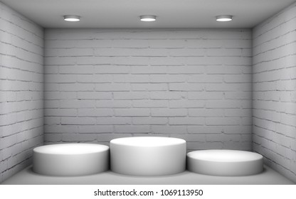 3D illustration - White podium in a brick room