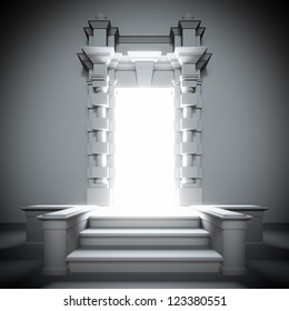 A 3d illustration of white portal to the future with bright light from him.