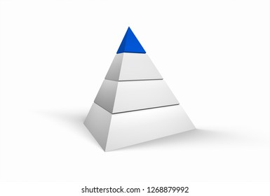 3D Illustration - White pyramide on white background with blue top