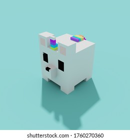 3d illustration of a white and rainbow voxel unicorn