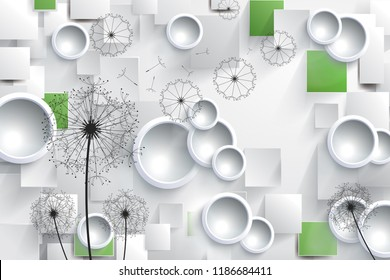 3D illustration with white rings and black dandelions
