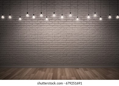 3D illustration : White rough brick wall & Wooden floor with lighting.