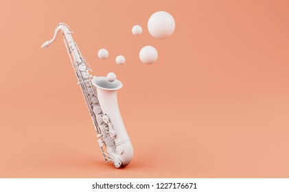 3d illustration. White saxophone on a pink background. Music concept.