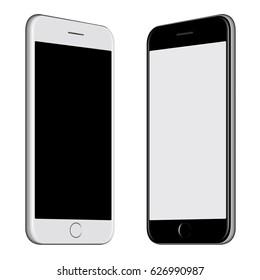3D-Illustration Weißes Smartphone und Schwarzes Smartphone mit weißem Hintergrund