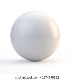 3d illustration white sphere on white background
