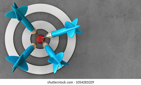 3d illustration of white taget with four darts over concrete background