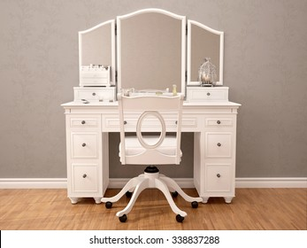 3d illustration of white toilet table with mirror