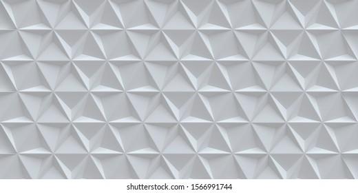 3d illustration. White trigonal background with a shadow. White background with 3d effect. Decorative panel